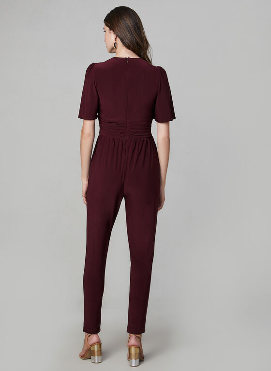 V-Neck Jersey Jumpsuit, Red, hi-res