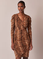Snake Print V-Neck Dress, Brown