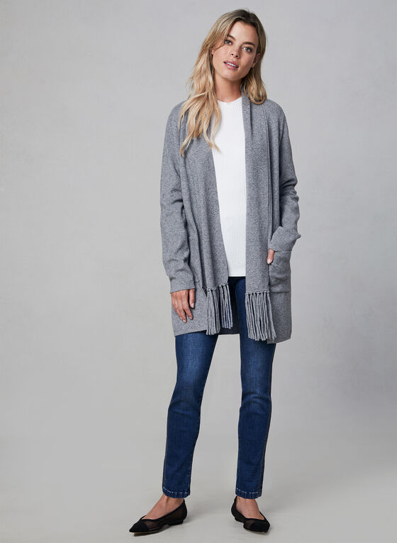 Open Front Fringe Cardigan, Grey, hi-res