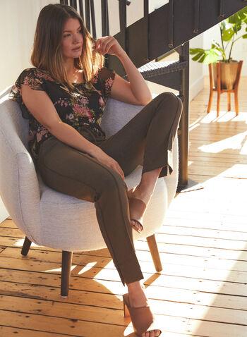 Vince Camuto - Floral Print Flutter Sleeve Blouse, Black,  top, blouse, floral, flutter, short sleeves, chiffon, scoop neck, spring summer 2021