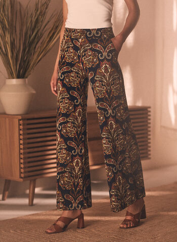 Paisley Print Wide Leg Pants, Blue,  pants, paisley, wide leg, pull-on, jersey, pockets, spring summer 2020