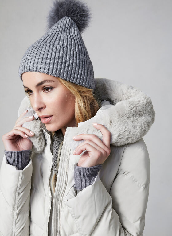 Karl Lagerfeld Paris - Faux Fur Trim Down Coat, Grey
