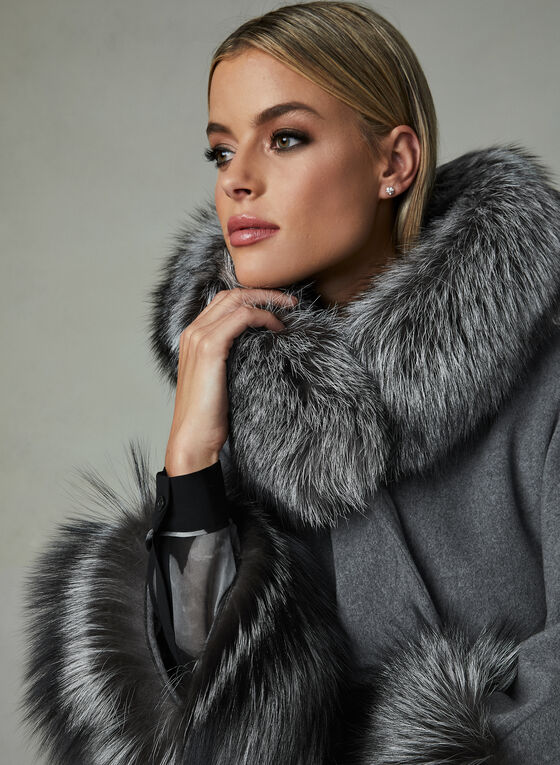 Mallia – Fur Trim Hooded Wool Cape, Grey, hi-res