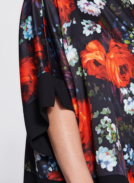 Blouse kimono satinée à motif floral, Rouge, hi-res