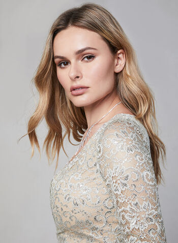 Terani Couture – Metallic Lace Gown, Off White, hi-res,  sweetheart neckline dress, evening gown, lace gown, long dress, lace sequins, glitter lace, metallic lace