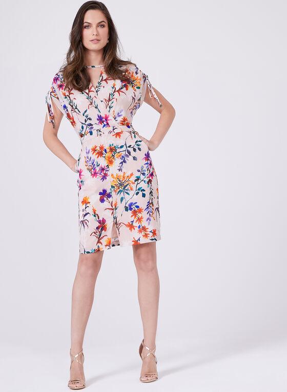 Adelyn Rae - Floral Chiffon Surplice Neck Dress, Multi, hi-res