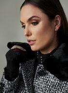 Manteau en tweed avec col de fausse fourrure, Noir, hi-res