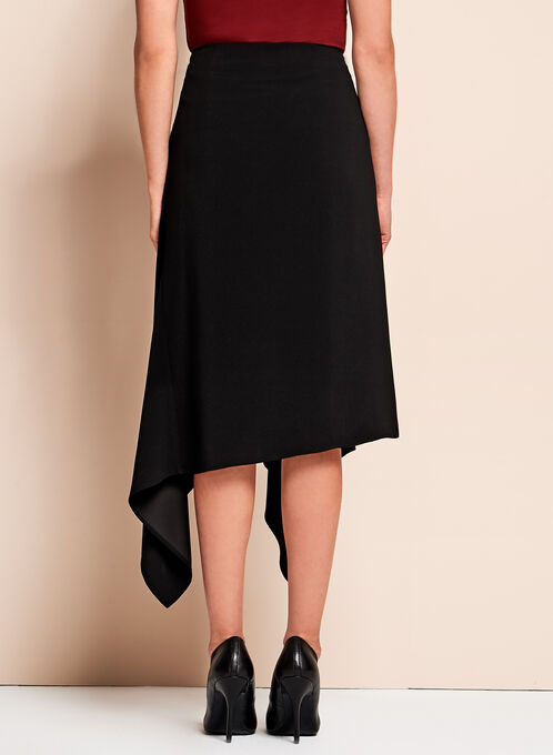 Crinkle Crepe Asymmetric Skirt, Black, hi-res