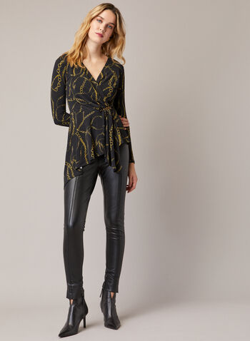 Chain Print Asymmetric Top, Black,  top, blouse, chain print, asymmetric, fall winter 2020