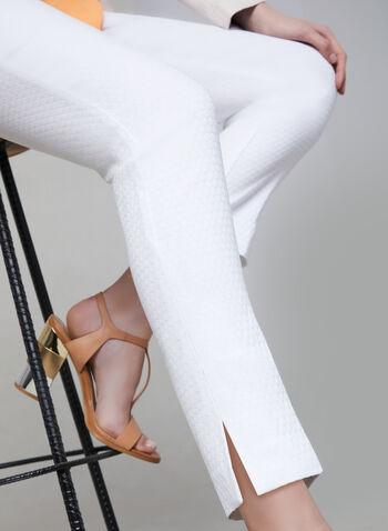 Pantalon pull-on en jacquard, Blanc, hi-res,  pantalon, pull-on, jambe étroite, jacquard, printemps 2019