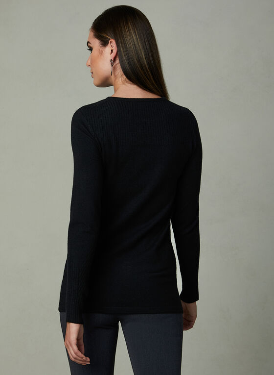 Ribbed Crew Neck Sweater, Black, hi-res