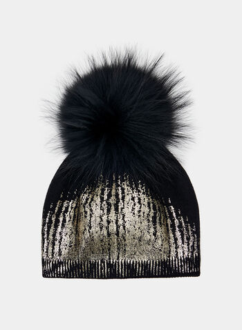 Metallic Knit Toque, Black, hi-res