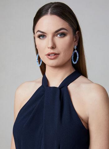 Julia Jordan - Halter Neck Jumpsuit, Blue, hi-res,  wide leg, crepe, sleeveless, spring 2019