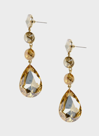 Tiered Crystal Drop Earrings, Brown, hi-res