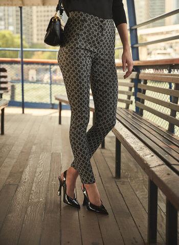 Joseph Ribkoff - Geometric Slim Leg Pants, Black,  fall winter 2021, made in Canada, high rise, high waist, high waisted, slim leg, geometric, pants, bottoms, Joseph Ribkoff, Frank Lyman