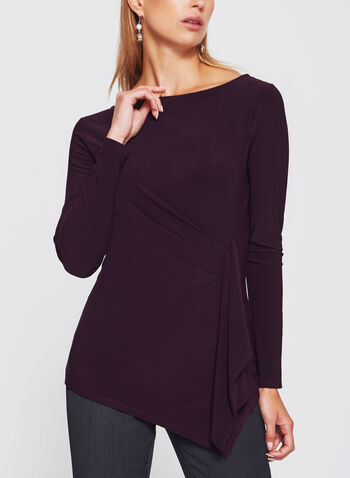 Asymmetric Side Pleated Draped Jersey Blouse, Purple, hi-res