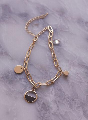 Oval Link Charm Bracelet, Gold,  accessories, jewellery, bracelet, golden, oval, charm, spring summer 2021
