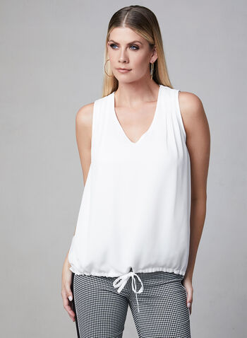 Tie Detail Sleeveless Top, Off White, hi-res,  pleats, V-neck, spring 2019