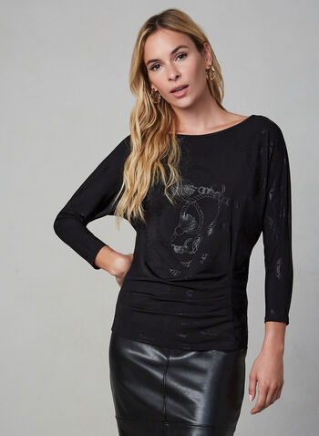 Chain Print 3/4 Sleeve Top, Black,  fall winter 2019, 3/4 sleeves, chain print, long sleeves