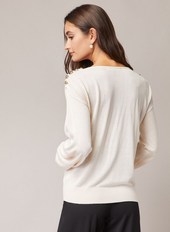 Button Detail Balloon Sleeve Sweater, Off White