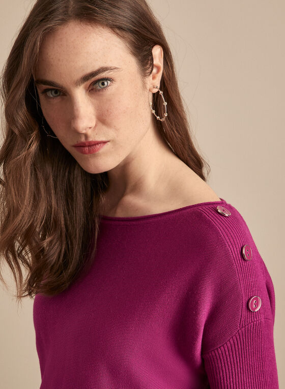 Dolman Sleeve Button Detail Sweater, Purple