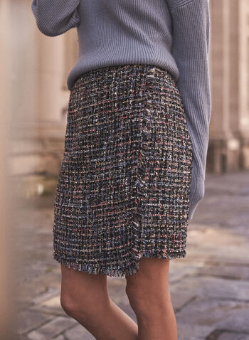 Jupe portefeuille en tweed, Noir,  jupe, jupe crayon, fait au canada, portefeuille, ourlet asymétrique effiloché, tweed, longueur genou, automne hiver 2021