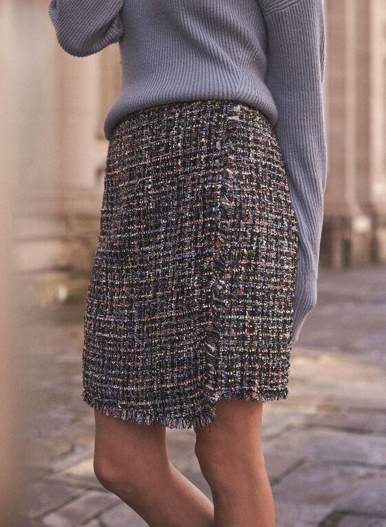 Wrap Style Tweed Skirt, Black