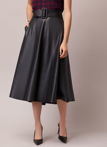 Belted Vegan Leather Skirt, Black,  skirt, long, vegan leather, pockets, belt, fall winter 2020