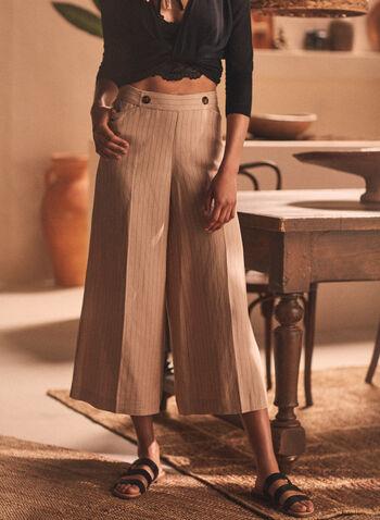 Striped Linen Blend Gaucho Pants, Beige,  pants, gaucho, pull-on, linen, stripe print, spring summer 2020
