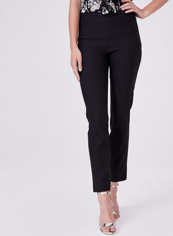 Zip Detail Ankle Pants, Black, hi-res