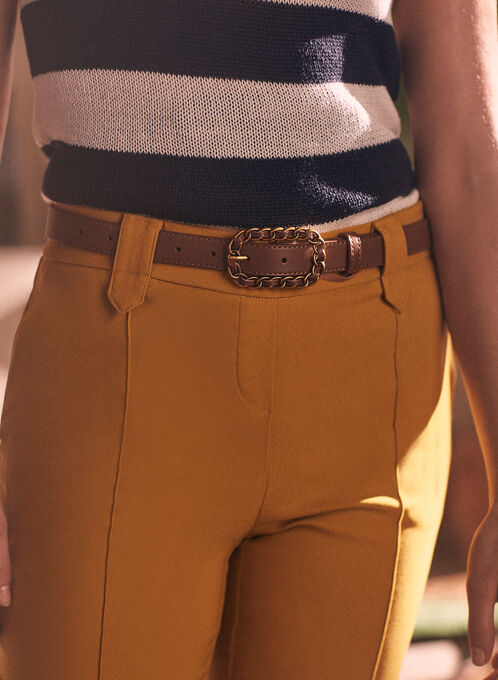Thin Leather Belt, Beige