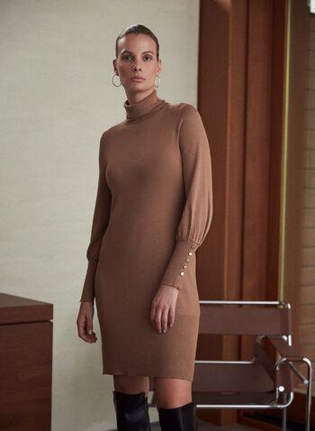 Turtleneck Sweater Dress, Off White,  sweater, dress, turtleneck, long sleeves, cuffs, buttons, knit, fall winter 2020