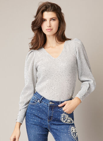 Textured Sequin Top, Silver,  Fall winter 2020, top, sequin, textured, long sleeve, buttons, v-neck