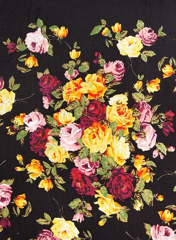 Foulard léger à imprimé floral contrastant, Noir, hi-res