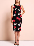Watercolour Floral Print Sheath Dress, Black, hi-res