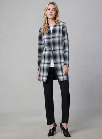 Redingote à carreaux , Noir, hi-res,  manches longues, veste, col cranté, veste longue, automne hiver 2019