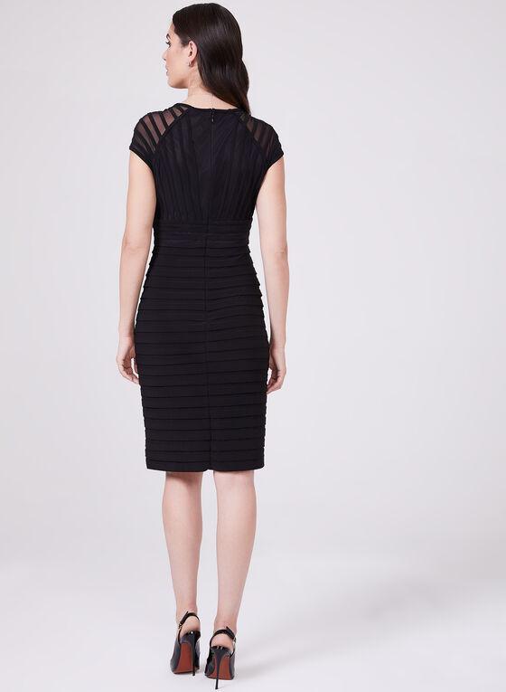 Adrianna Papell - Illusion Sleeve Ribbed Dress, Black, hi-res