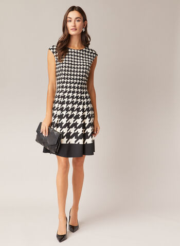 Maggy London - Houndstooth Print Dress, Black,  day dress, cap sleeves, houndstooth, fit & flare, contrast, fall winter 2020