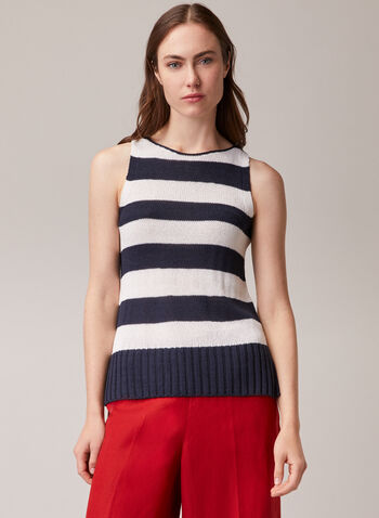 Stripe Print Sleeveless Sweater, Blue,  sweater, stripe print, sleeveless, knit, spring summer 2020