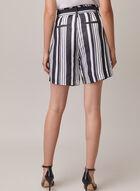 Stripe Print Linen Shorts, Blue