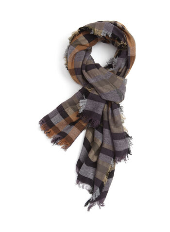 Plaid Print Scarf, Green, hi-res