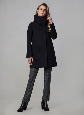 Marcona - Wool-Like Coat, Black, hi-res,  fall winter 2019, faux wool, long sleeves, asymmetric closure, patch pockets