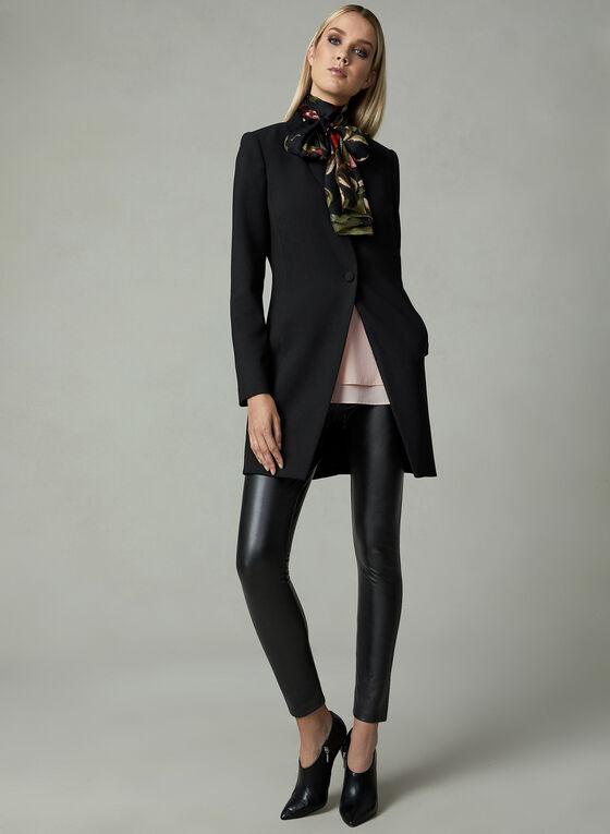 Veste redingote à col cranté, Noir, hi-res