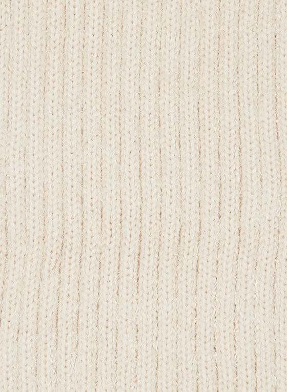 Pulled Yarn Pompom Detail Scarf, Brown, hi-res