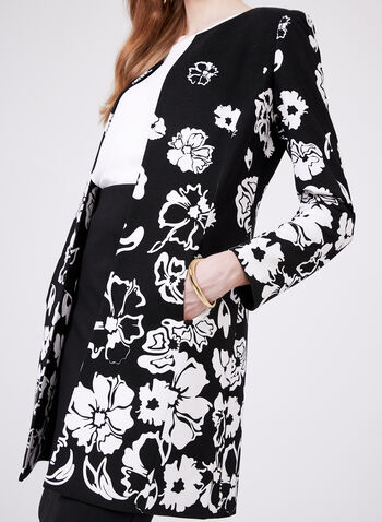 Floral Print Open Front Jacket, Black, hi-res