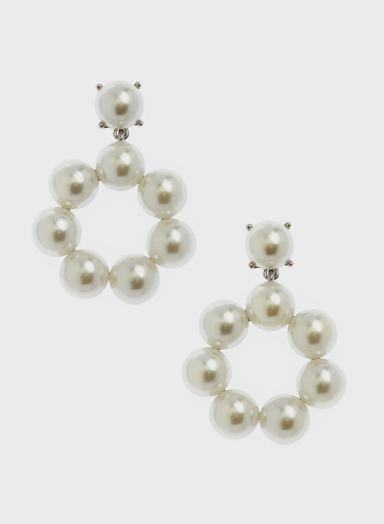 Pearl Circle Earrings, Off White, hi-res