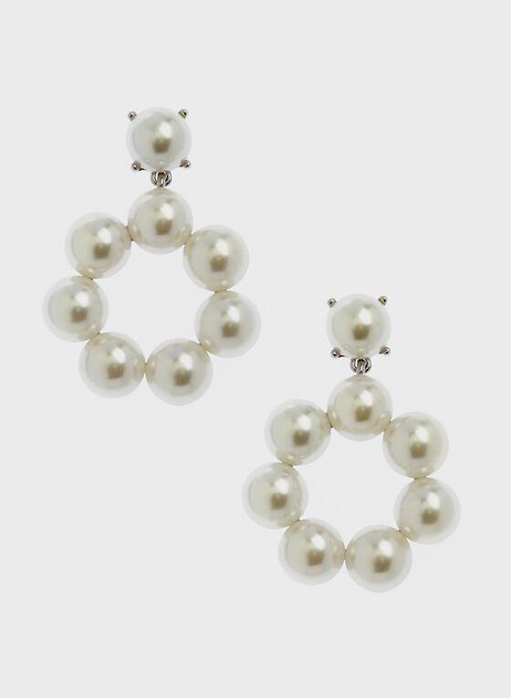 Boucles d'oreilles avec pendants en perles, Blanc cassé, hi-res