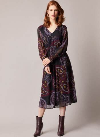Paisley Print Long Sleeve Dress, Black,  dress, day, paisley, long sleeves, fall winter 2020