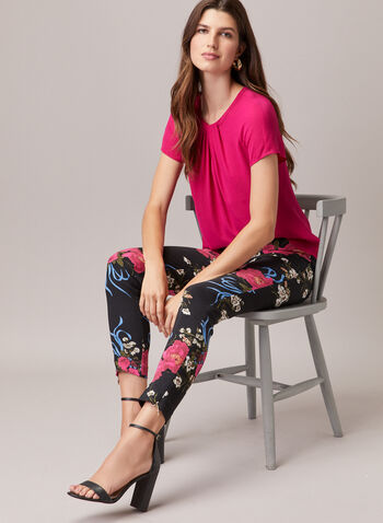 Floral Print Slim Leg Pants, Black,  pants, bengaline, floral, pull-on, slim leg, ankle length, spring summer 2020