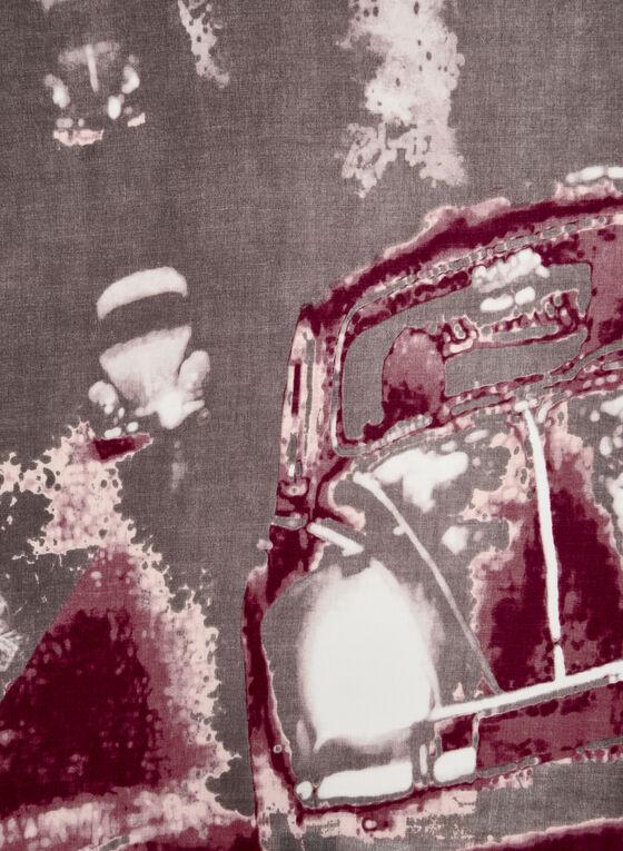 Foulard oblong à motif voiture, Gris, hi-res
